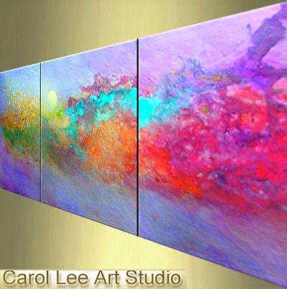 Original MODERN ART, abstract painting, triptych, acrylic, palette knife,  turquoise, contemporary, modern fine art, Carol Lee, Leearte