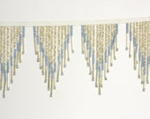 Vintage Murano Glass Beaded Fringe Blue and Silver