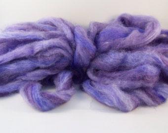 "Carded Roving ""Diaphanous Folds of Lilac"" Superwash Merino/Tussah Silk 4 oz bag"