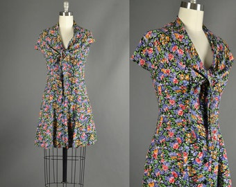 Vintage 1980s Dress, 80s Dress mini floral cotton sun dress day dress black full skirt