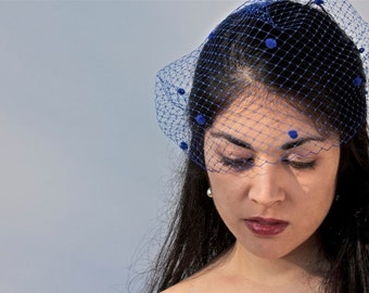 Royal Blue Veil, Bandeau Veil, Something Blue, Dot Veil, Dotted Bird Cage Veil, Comb Less Veil, Polka Dot Veil, ifanhour, Made in USA