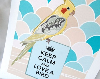 Keep Calm Cockatiel with Scaled Background - 7x9 Eco-friendly Print