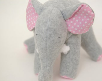 Pinky Gray - Grey Fleece Elephant with Pink and White Polka Dot Cotton Tummy and Chenille Tusks