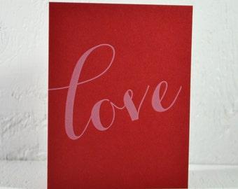 Letterpress Valentine card - love - white ink on red - valentines, wedding, anniversary