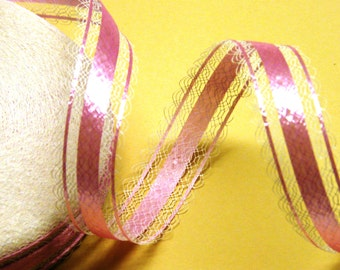 Pink Ribbon Lace Trim (1 inch)