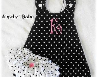 Pinafore Dress and Sassy Pants Ruffled Diaper Cover Set in Black & White Polka Dots Monogram Option