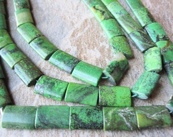 Green Turquoise Beads, Smooth Pillow, 10mm x 14mm, Green Gemstone, Wholesale Turquoise, SKU 3152