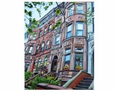 Brooklyn Brownstone Print, New York City Painting Cityscape. NYC Urban Fine Art. Gwen Meyerson
