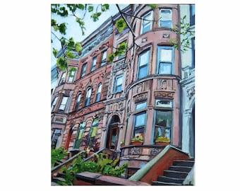 Brooklyn Brownstone Print, New York City Painting Cityscape. NYC Urban Fine Art. Gwen Meyerson
