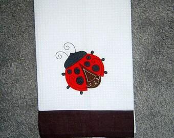 LADYBUG Machine Embroidered White/Brown Mini Waffle Weave Towel