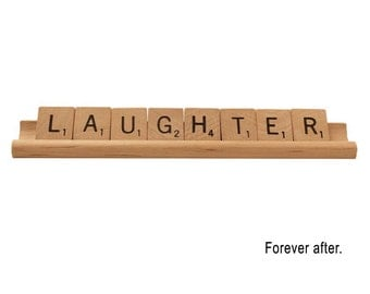 Laughter - Forever After, Greeting Card, Scrabble Letters, Wedding Card, Congratulations Card