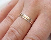Skinny Stacking Rings, Slim gold Ring, 14K gold Ring, Sterling Silver Rings, Two Tone Rings, Mix Metal Rings, Slim Band, Hammered Band