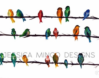 Birds Print, Watercolor Birds, Watercolor Bird Painting, Birds on Wire, Birds on a power-line, Birds together print, Colorful Bird Painting,