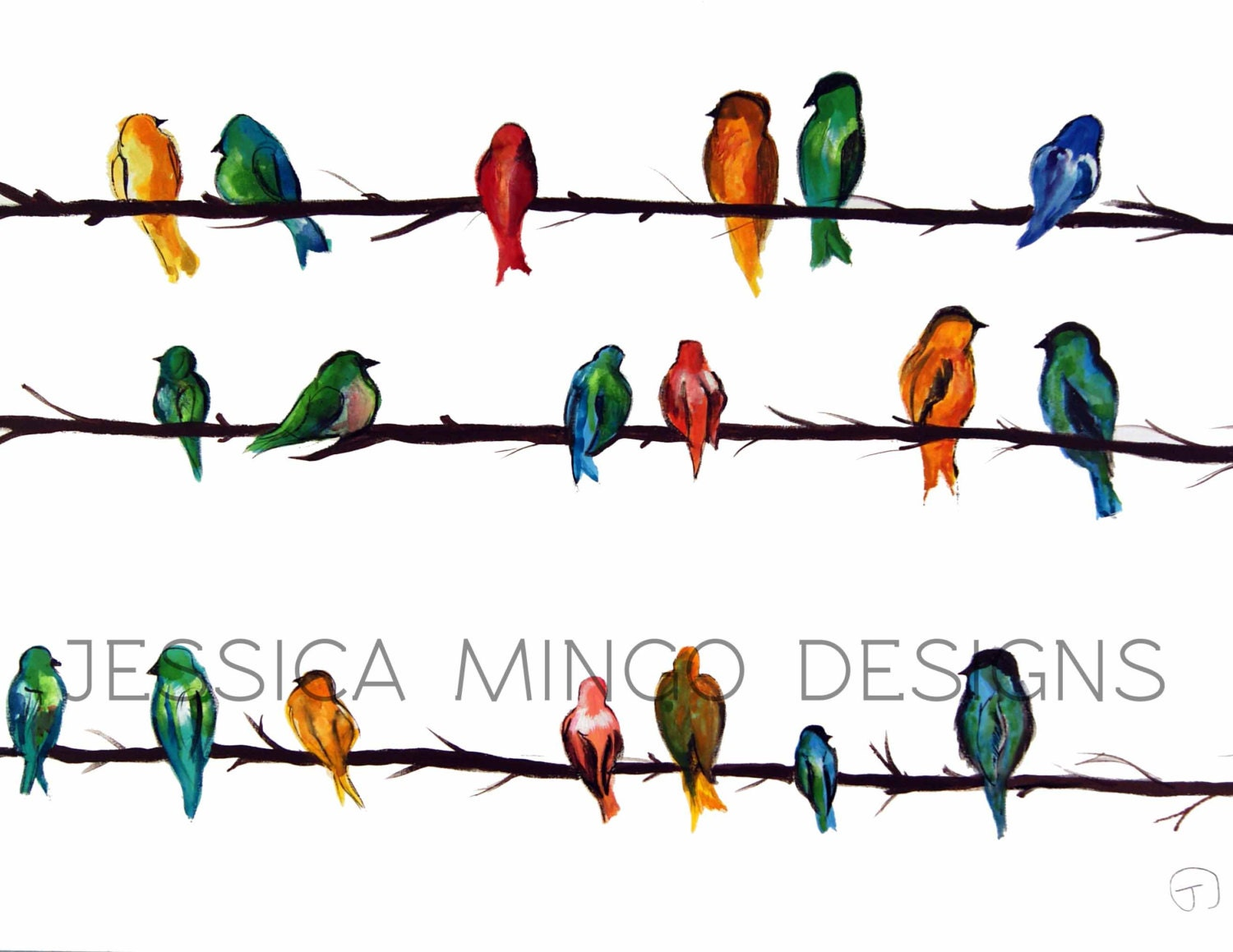 birds print watercolor birds watercolor by jessicamingodesigns. Black Bedroom Furniture Sets. Home Design Ideas