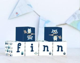 Blue Owls Name Blocks, Nursery Decor, Nursery Name Personalized Wooden Blocks