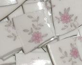 Vintage Mosaic tiles cut from  plates