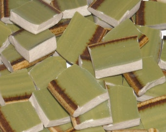 Vintage Green and brown Mosaic Tiles cut From Saucers A1