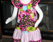 Floral Pinks Girls Ruffled Boutique Dress, Front pocket Pullover Style, Bright Prints-Size 5-7