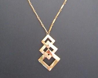 1960s/70s signed MONET Goldtone Geometric Pendant