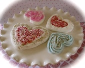 "Custom Order for Kristin. Heart Fake Cookie ""Puffy Heart Patisserie Cookie Collection"" Set of 4 Cookies Fab Photo Props, Cake Plate Decor"
