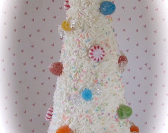 """Candy Land Inspired White Cupcake Tree Approx. 10"""" h Fab for Candy Buffet & Birthday Decor Original 12 Legs Design"""