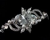Pearl Bridal Bracelet, Teardrop Wedding Jewelry, Swarovski Crystal, Cubic Zirconia Bracelet, LOVE