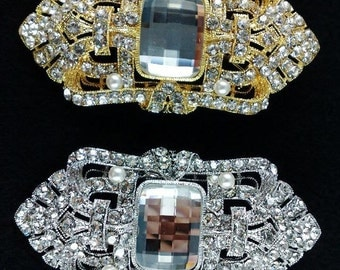 Gatsby Wedding Brooch Pin, Art Deco Bridal Broach, Geometric Bridal Jewelry, Swarovski Crystal Wedding Jewelry, Bridesmaid Gift, DECORA