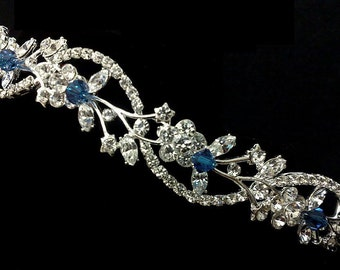 Something Blue Bridal Crown, Sapphire Blue Wedding Tiara, Crystal Tiara, Vines Tiara, Floral Wedding Crown, Bridal Halo, Gift for Her ADORNA