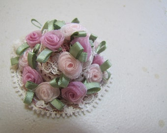 Dollhouse doll hat  in pink roses and lace