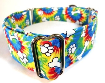 Tie Dyed Bones and Paws Greyhound Martingale Dog Collar