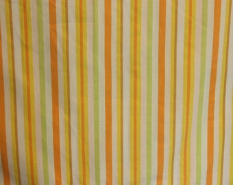 Twin Flat Sheet, Single Flat Sheet, Green Yellow Stripe Lime Orange, Vintage Bed Sheet