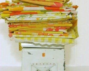 Vintage Fabric Scraps 3 Pounds Yellow Orange Stash Builder