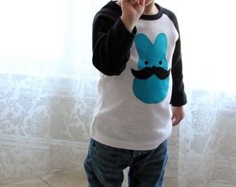 Mustache EASTER BUNNY Blue BOYS Raglan Tee Sizes 8-12