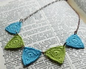 Bucktown Crochet Necklace- Apple Green and Light Turquoise