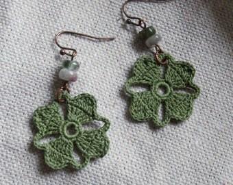 Nora Crochet Earrings- Olive Green