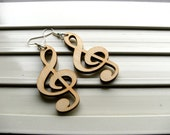 Medium size Treble clef wood dangle earrings - 1 pair