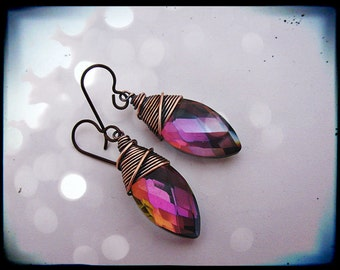Wire Wrapped Mystic Mauve Marquise Teardrops