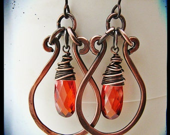 Wire wrapped Red Cubic Zirconia with Hammered Copper Hoops