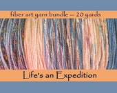 Fiber art yarn bundle 20 yards, pastel peach sky blue, 4 yards x 5 yarns, specialty novelty trim, i326