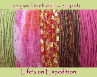 Scrapbooking yarn samples, pink gold fiber art yarn bundle card 20 yards, cardmaking variety pack assorted assortment i314