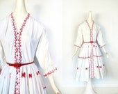 1950s Embroidered Dress / Folklore Dress / Vintage 50s Dress / Red Ponies / XS