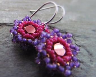 ELISE-Copper Swarovski Crystal with Grape Purple & Raspberry Pink Seed Bead Drop Earrings