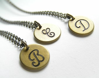 Antique Brass Little Monogram Personalized Initial Necklace