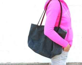 Large Gray Waxed Canvas Market Tote with Organic Cream Stripe and Red Lining