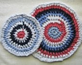 "2 round crocheted trivets in eco-friendly t-shirt yarn, 11"" and 8"", Patriotic red white and blue"