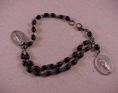 Black Bead Vintage Rosary Bracelet
