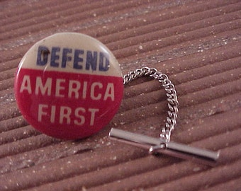 CLOSEOUT Tie Tack - Defend America First Vintage Pinback Button