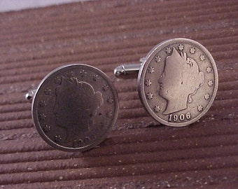 1906 Liberty Nickel Cuff Links - Free Shipping to USA