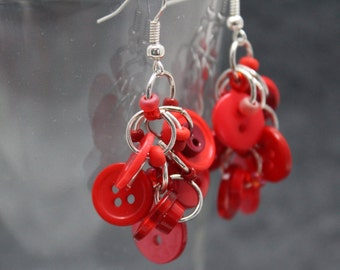 Button Dangle Earrings - Red by randomcreative on Etsy