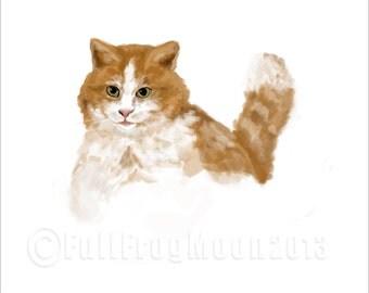 Fat Cat with Bushy Tail Print